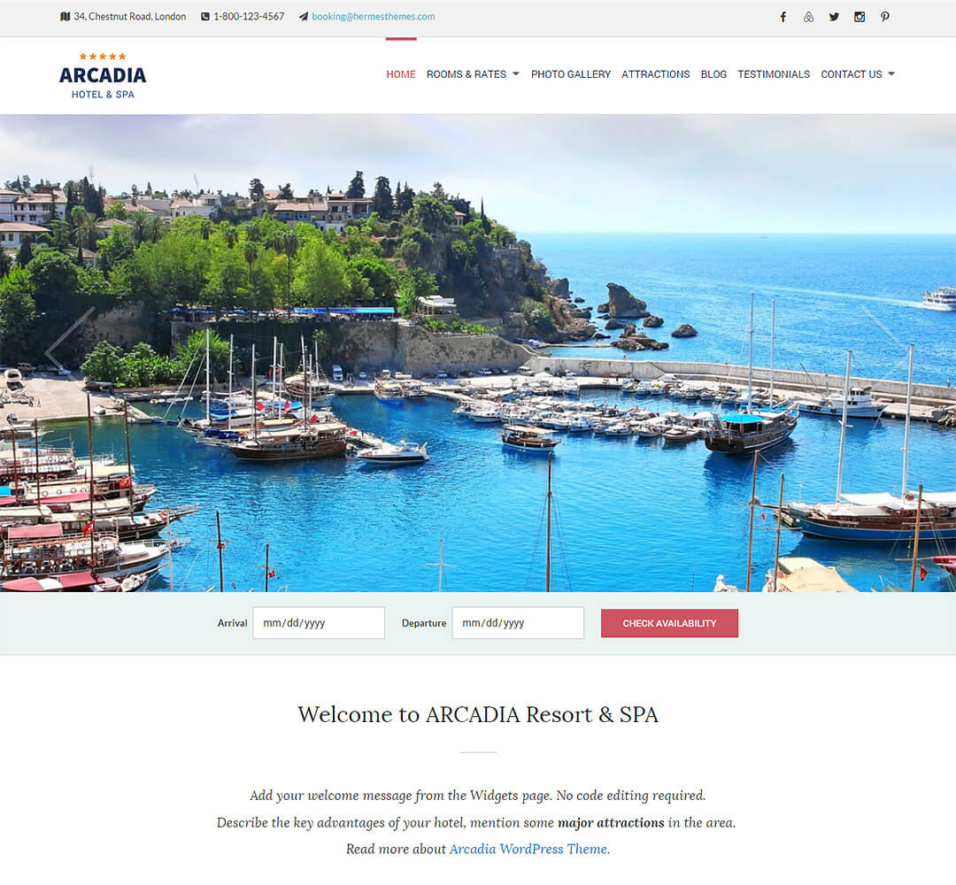 Arcadia WordPress Hotel Business Theme