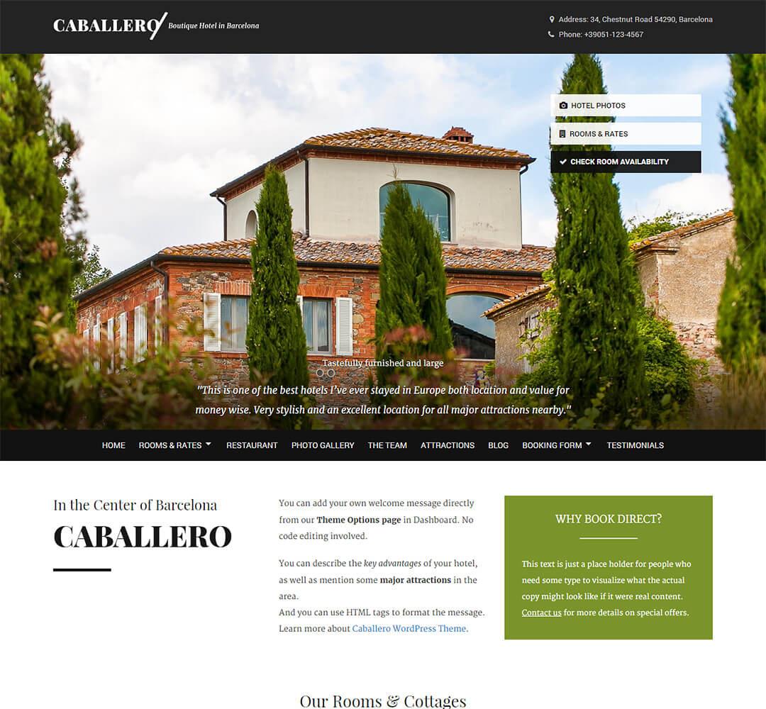 Caballero WordPress Hotel Business Theme