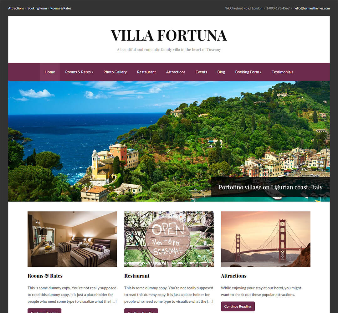 Fortuna Hotel Business WordPress Theme
