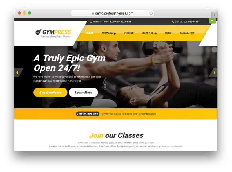 GymPress WordPress Theme