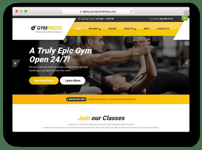 GymPress WordPress Theme
