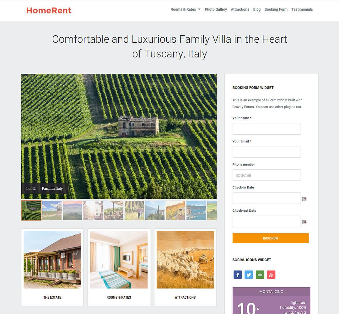 Homerent WordPress Hotel Business Theme