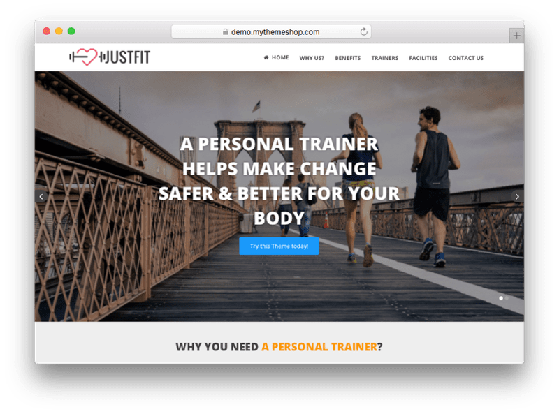 JustFit WordPress Theme by MyThemeShop