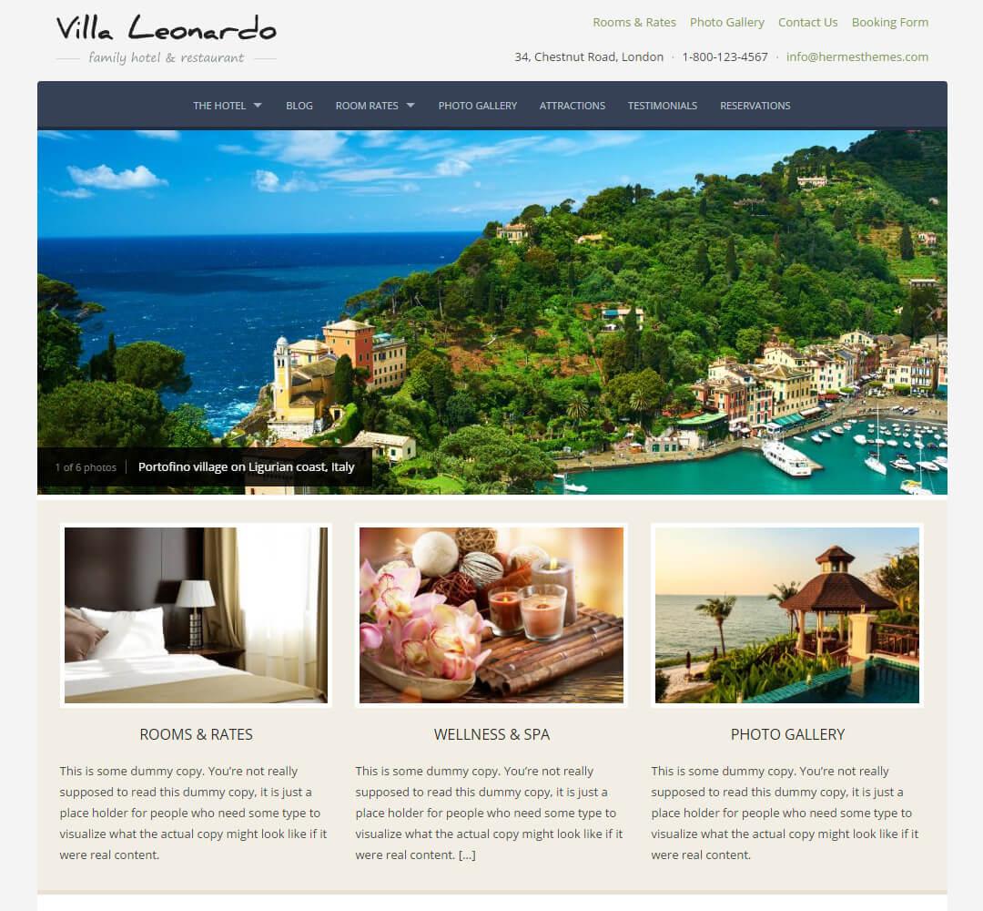 Leonardo Hotel Business WordPress Theme