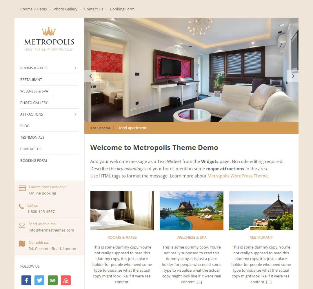 Metropolis Hotel Business WordPress Theme