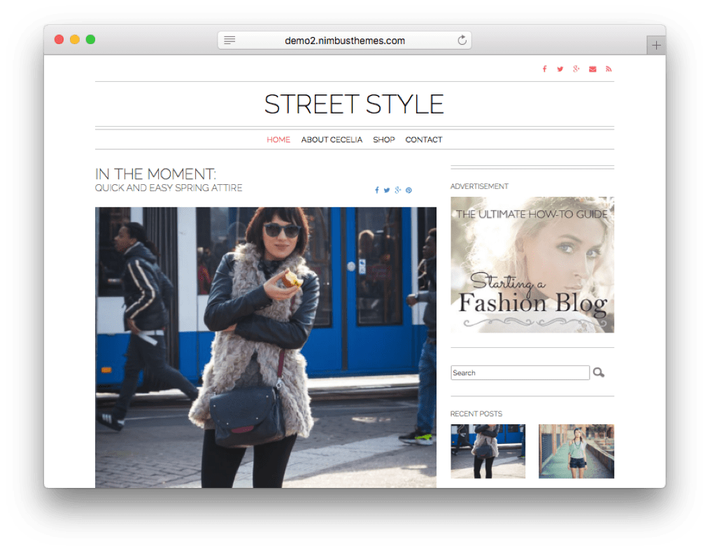 Street Style Wordpress Theme For Fashion Bloggers Sites