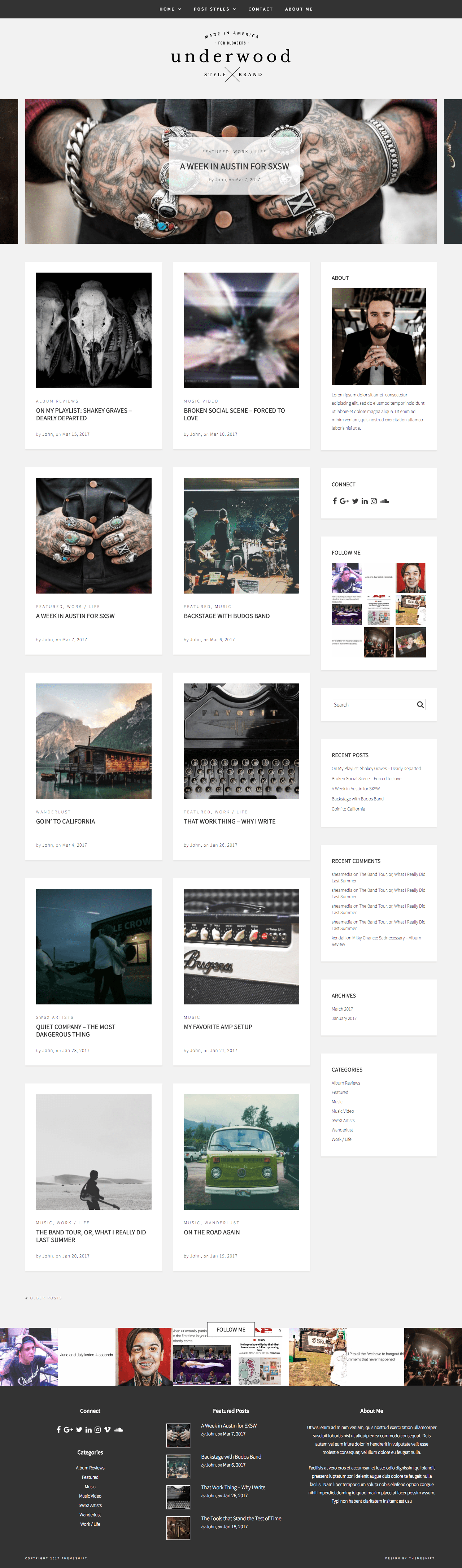 Underwood WordPress Personal Bloggers Theme
