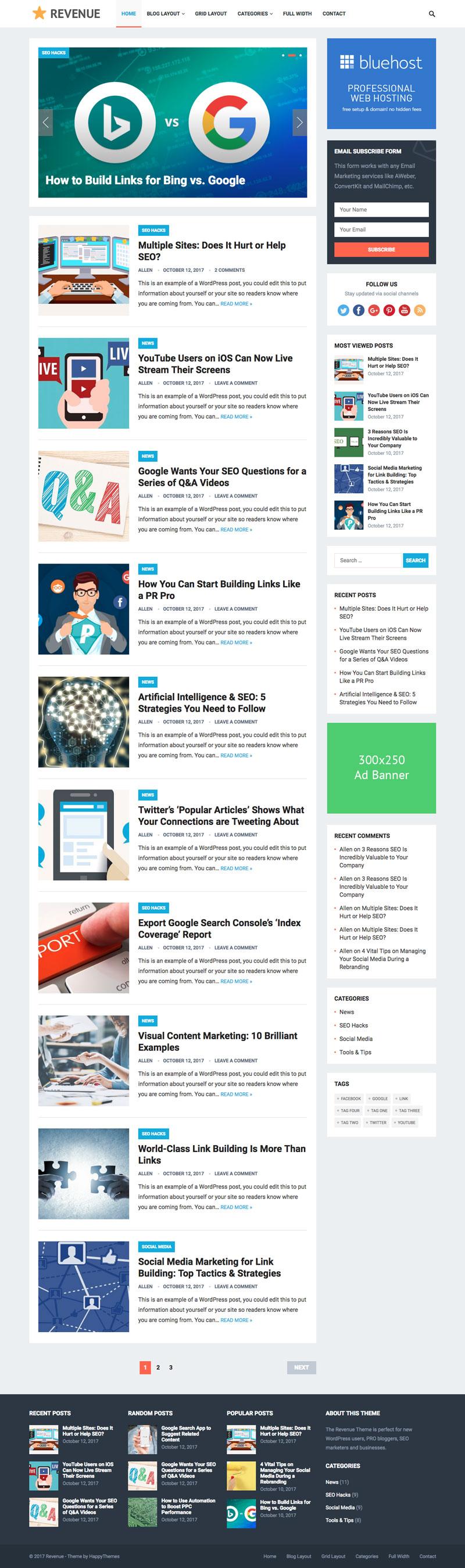 Revenue WordPress PRO Bloggers Theme