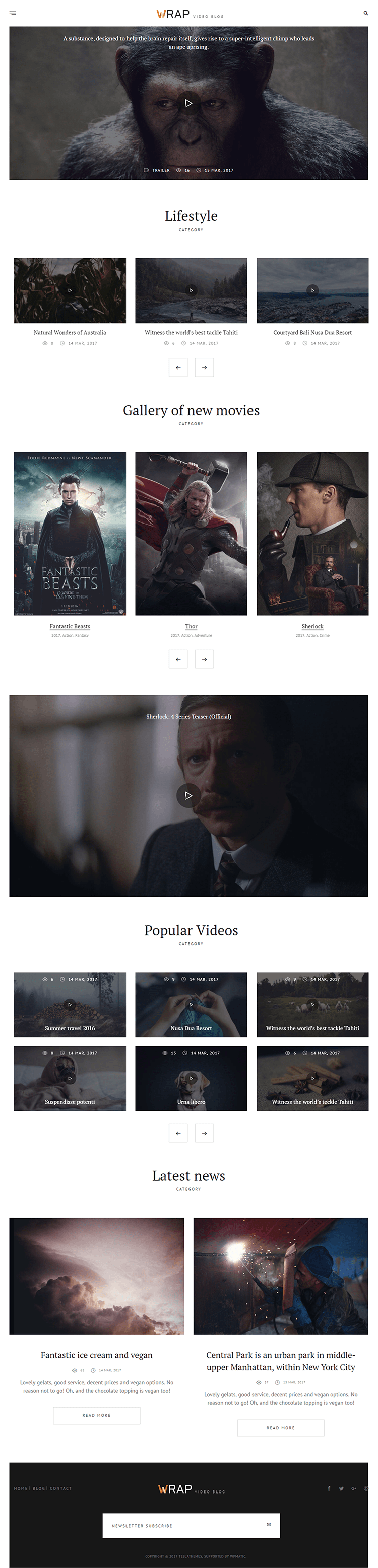 Wrap WordPress Theme for Video Blog