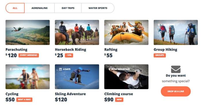 Adrenaline WordPress Theme - Activities  Packages