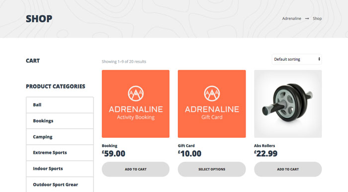 Adrenaline WordPress Theme - eCommerce Store