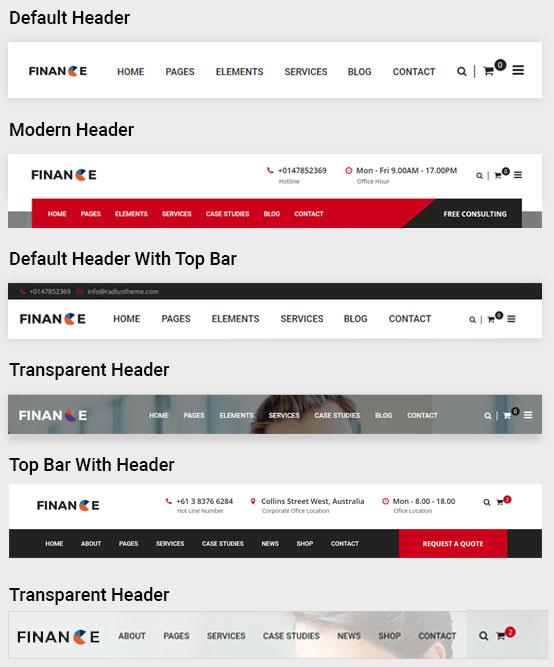 Finance Pro Theme - Header Designs