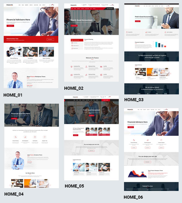 Finance Pro WordPress Theme - Homepage Designs