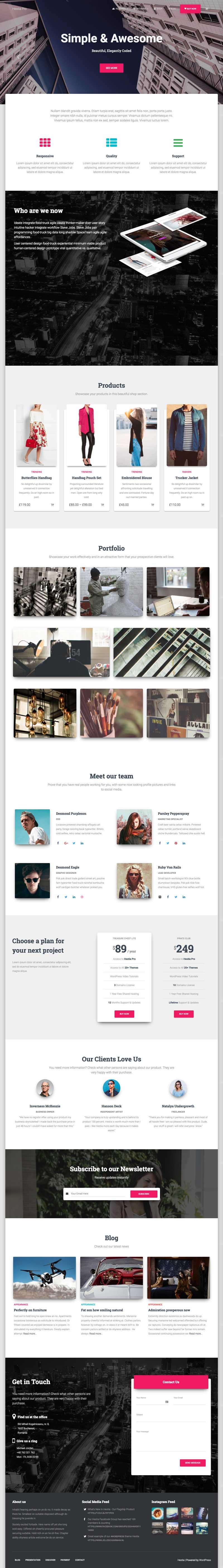 Hestia Pro WordPress One Page Theme