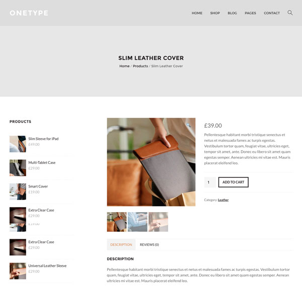 OneType WordPress Theme Product Page