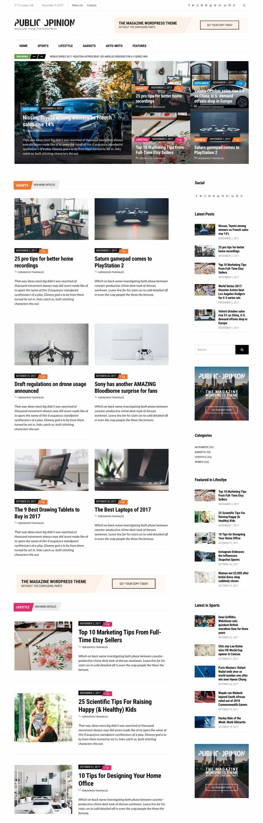 Public Opinion WordPress Magazine or News Theme
