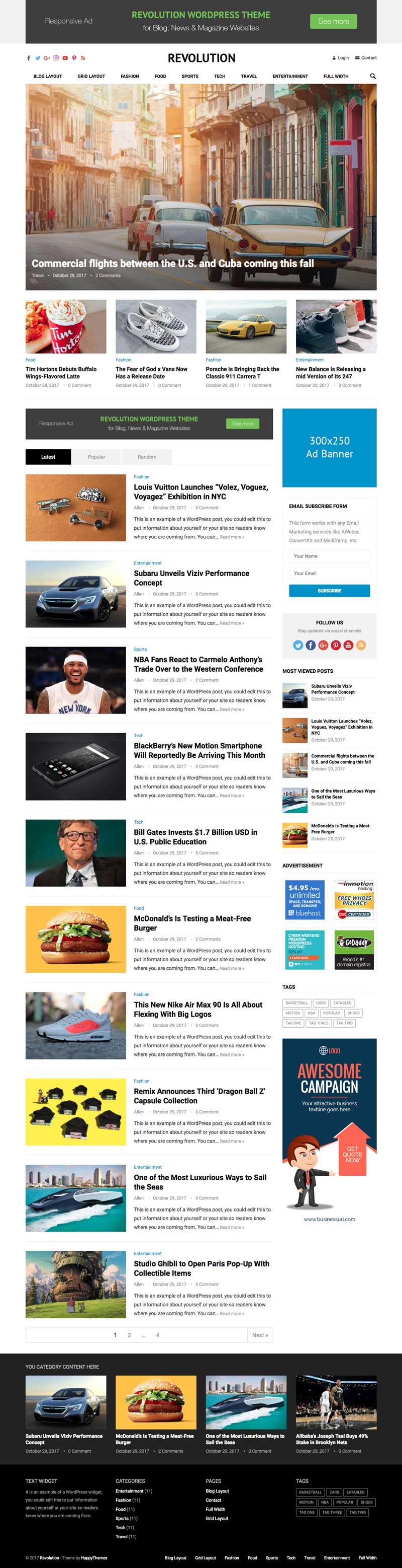 Revolution WordPress Theme for Blog, News & Magazine