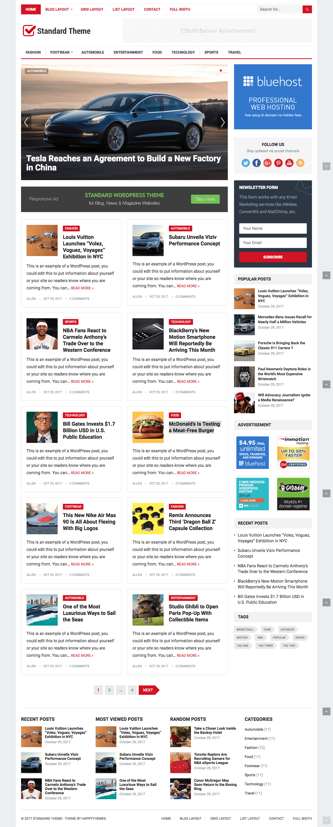 Standard WordPress Magazine Blog Theme