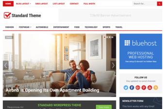 Standard WordPress Theme for Magazine Blogs