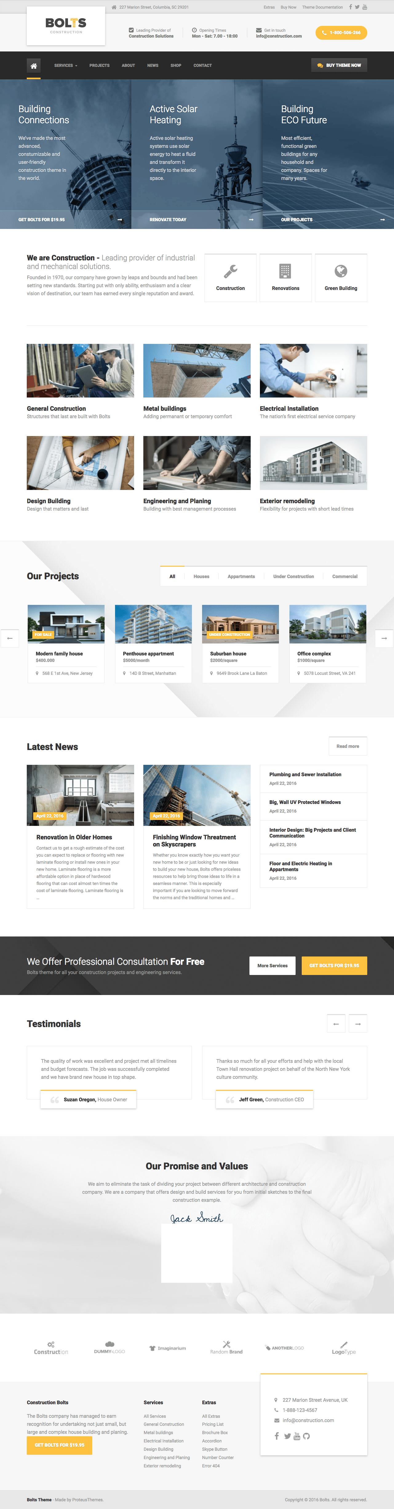 Bolts WordPress Construction Theme