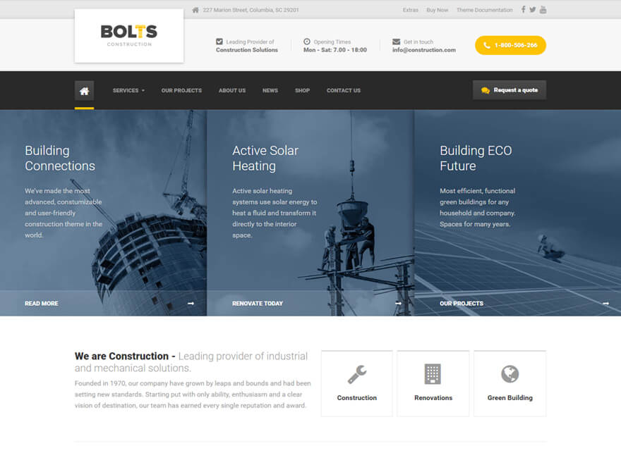 Bolts WordPress Theme for Builders, Contractors & Repair Services