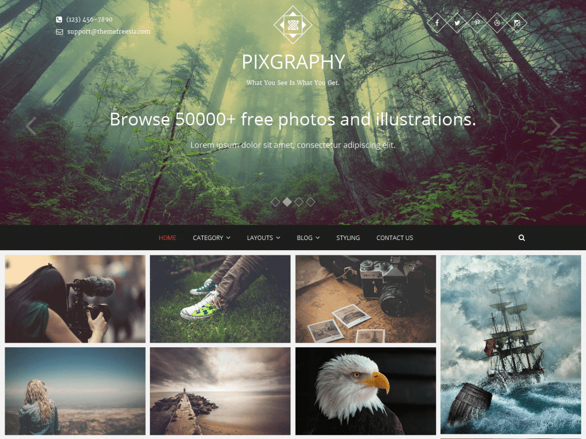 Pixgraphy Free WordPress Photo Wallpaper Theme