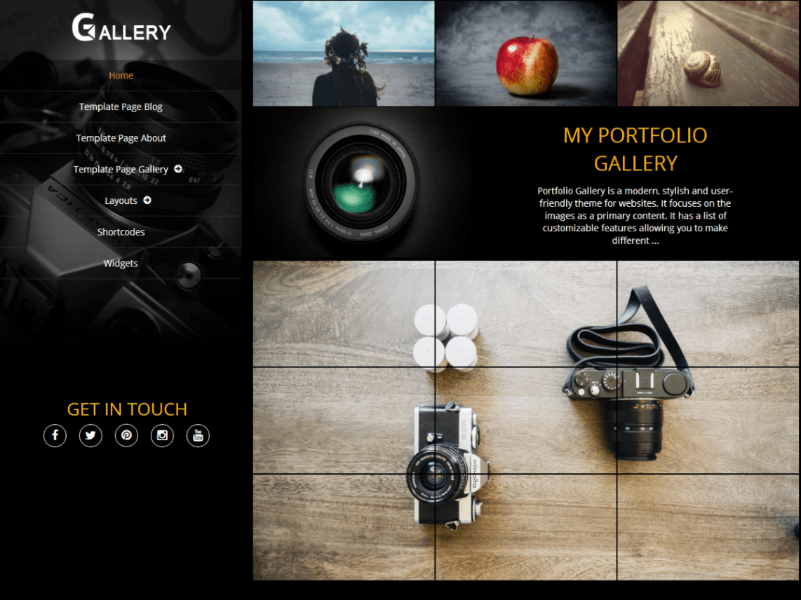 Portfolio Gallery WordPress Free Photography Theme