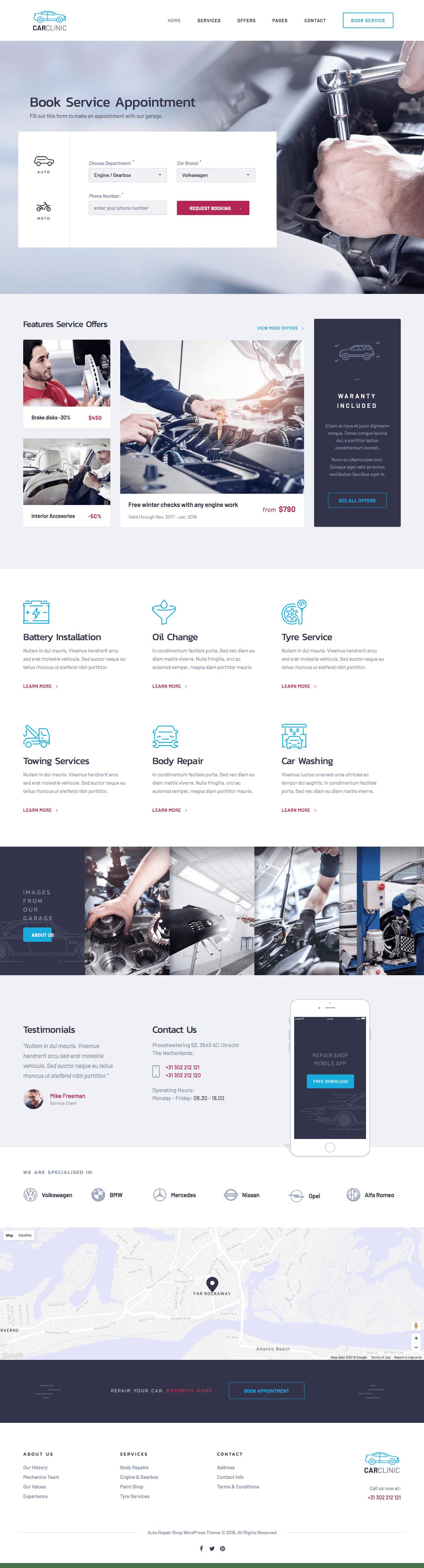 Car Clinic WordPress Theme for Auto Repair Shop