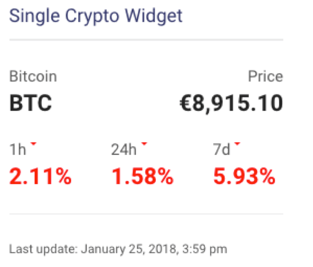 Crypto Currency Single Crypto Widget