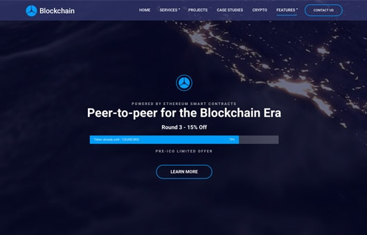 ICO Initial Coin Offering Landing Page Template