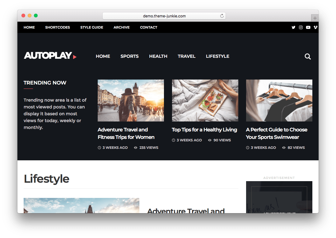 Autoplay WordPress Video Blogging theme