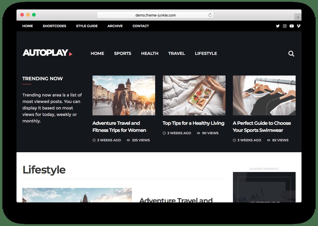 Autoplay WordPress Video Blogging theme