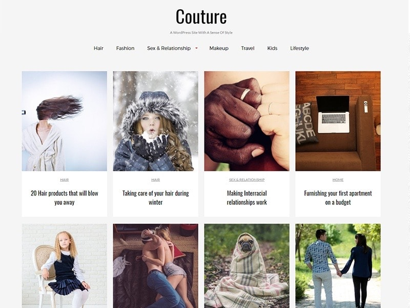 Couture free WordPress Photography Theme