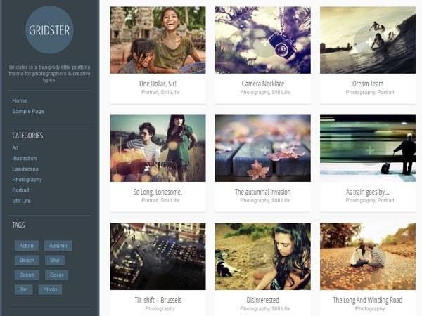 Gridster-Lite Free WordPress Photographer Theme