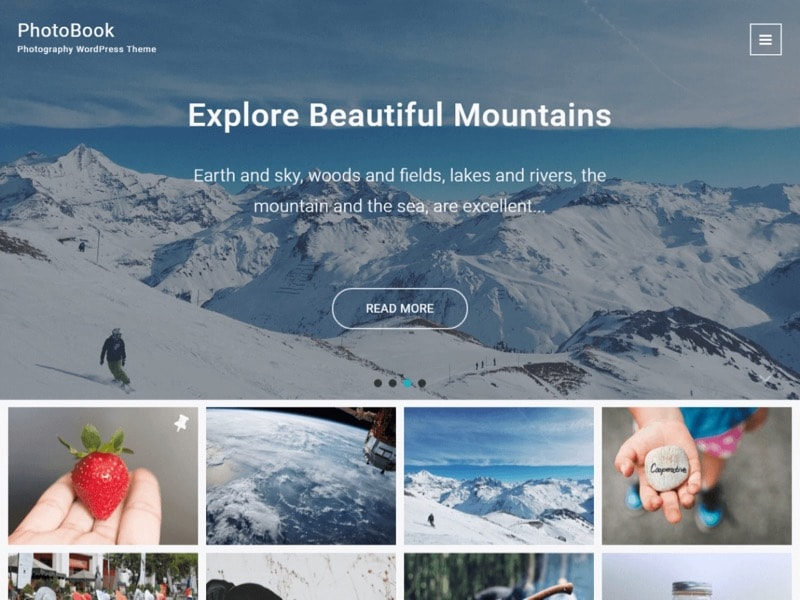 PhotoBook Free Photography WordPress Theme