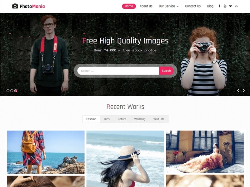 Photomania Free WordPress Photographer Theme