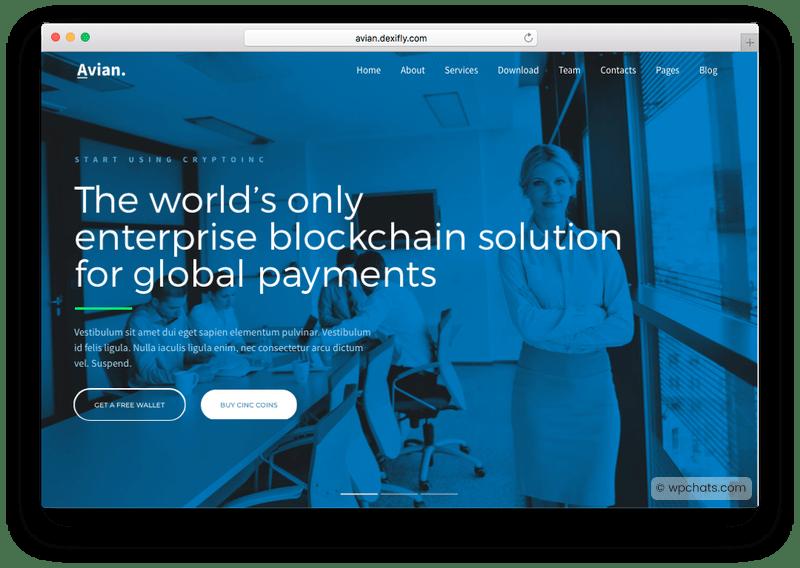 Avian Onepage Bitcoin WordPress Theme