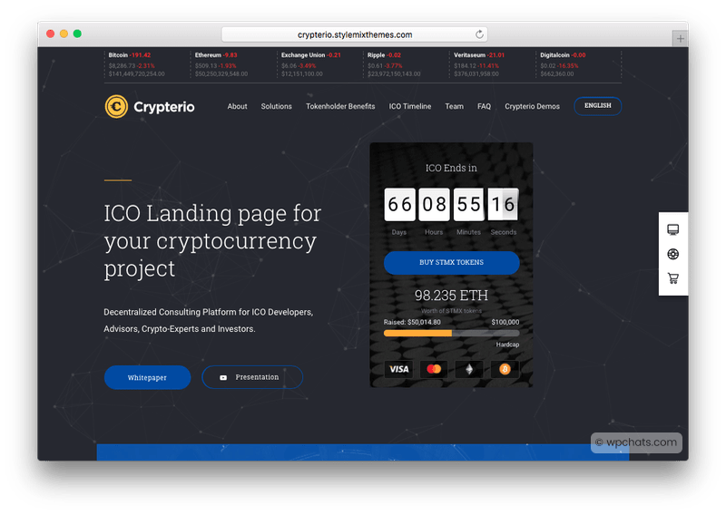 Crypterio Cryptocurrency WordPress Theme
