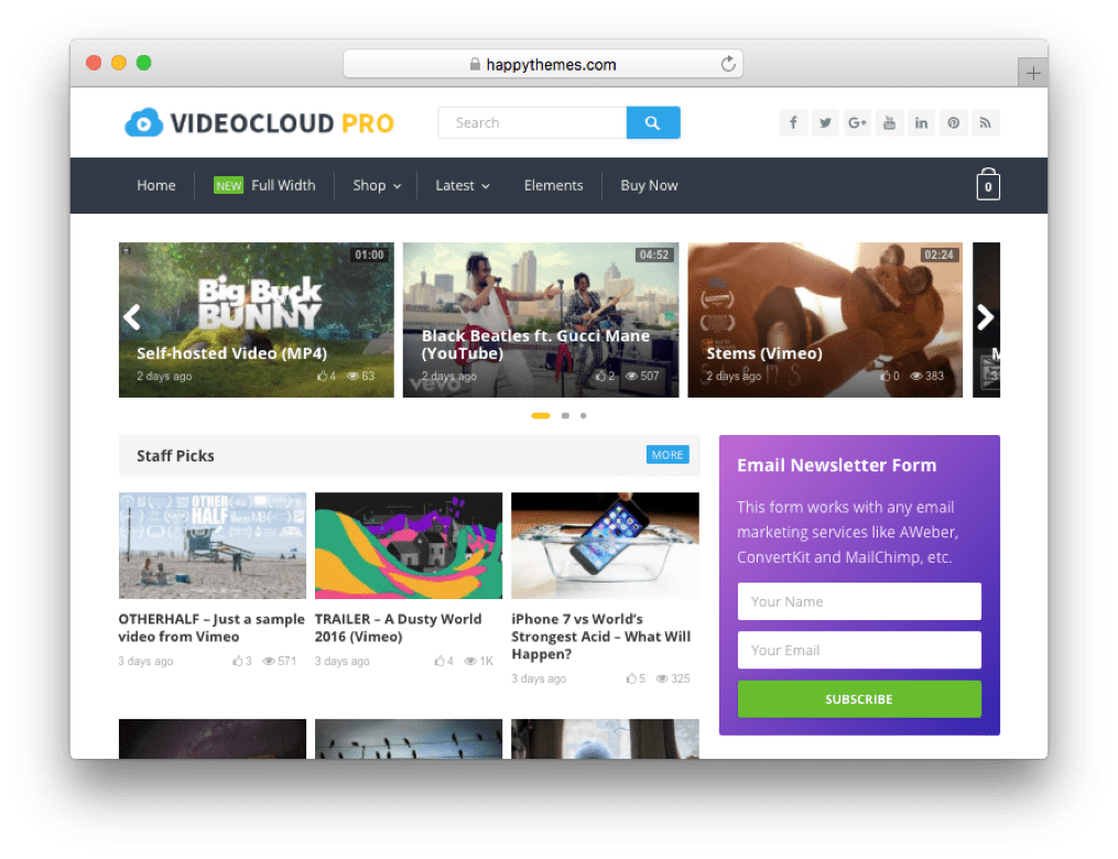 VideoCloud Pro WordPress Theme by HappyThemes