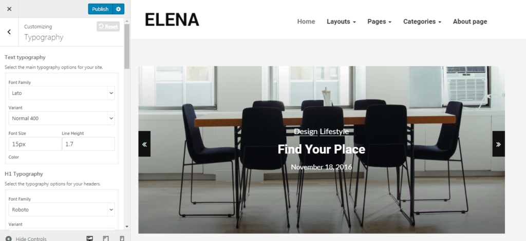 Elena WordPress Theme Options
