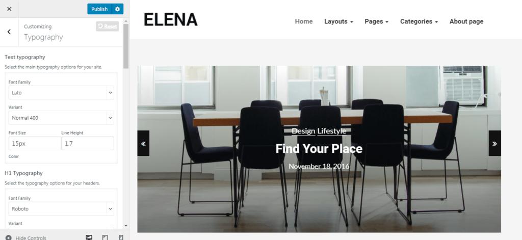 Elena WordPress Theme Options