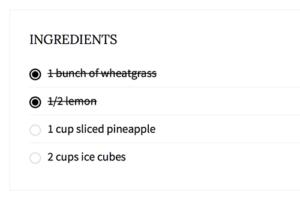 Ingredients tips