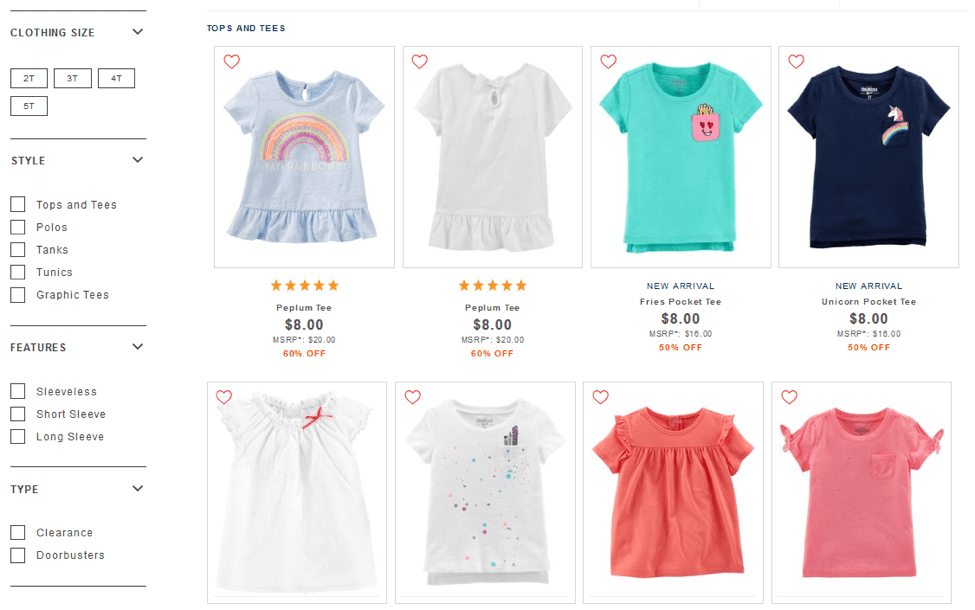 E-commerce - Filtering Clothing Options