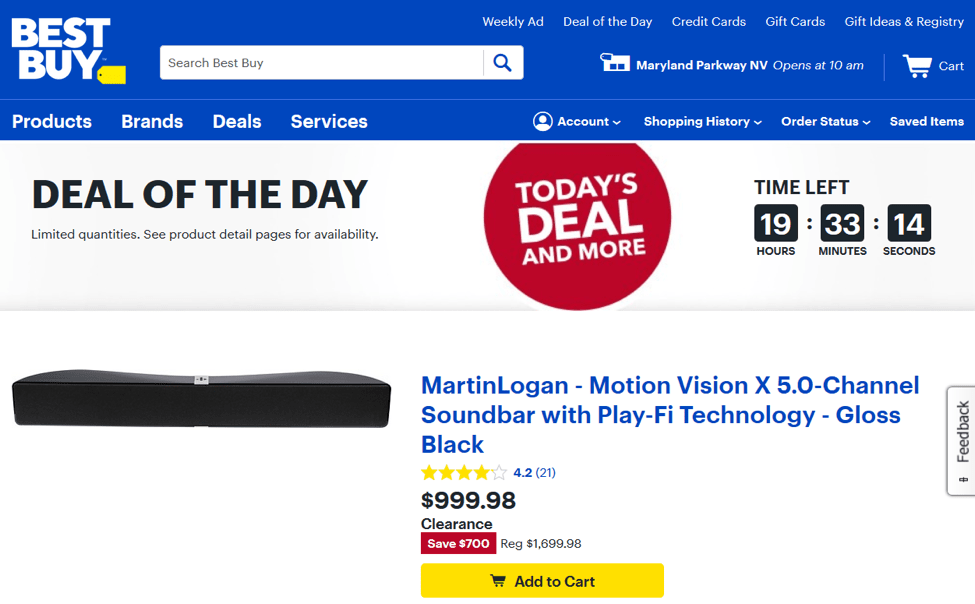 Deal of the Day section from Bestbuy.com