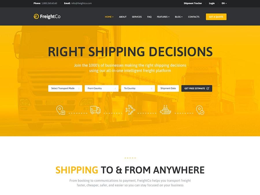 FreightCo Transportation & Warehousing WordPress Theme