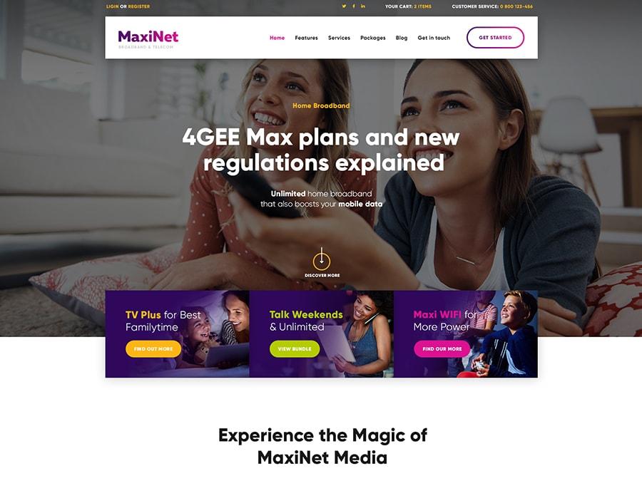 MaxiNet Broadband & Telecom WordPress Theme