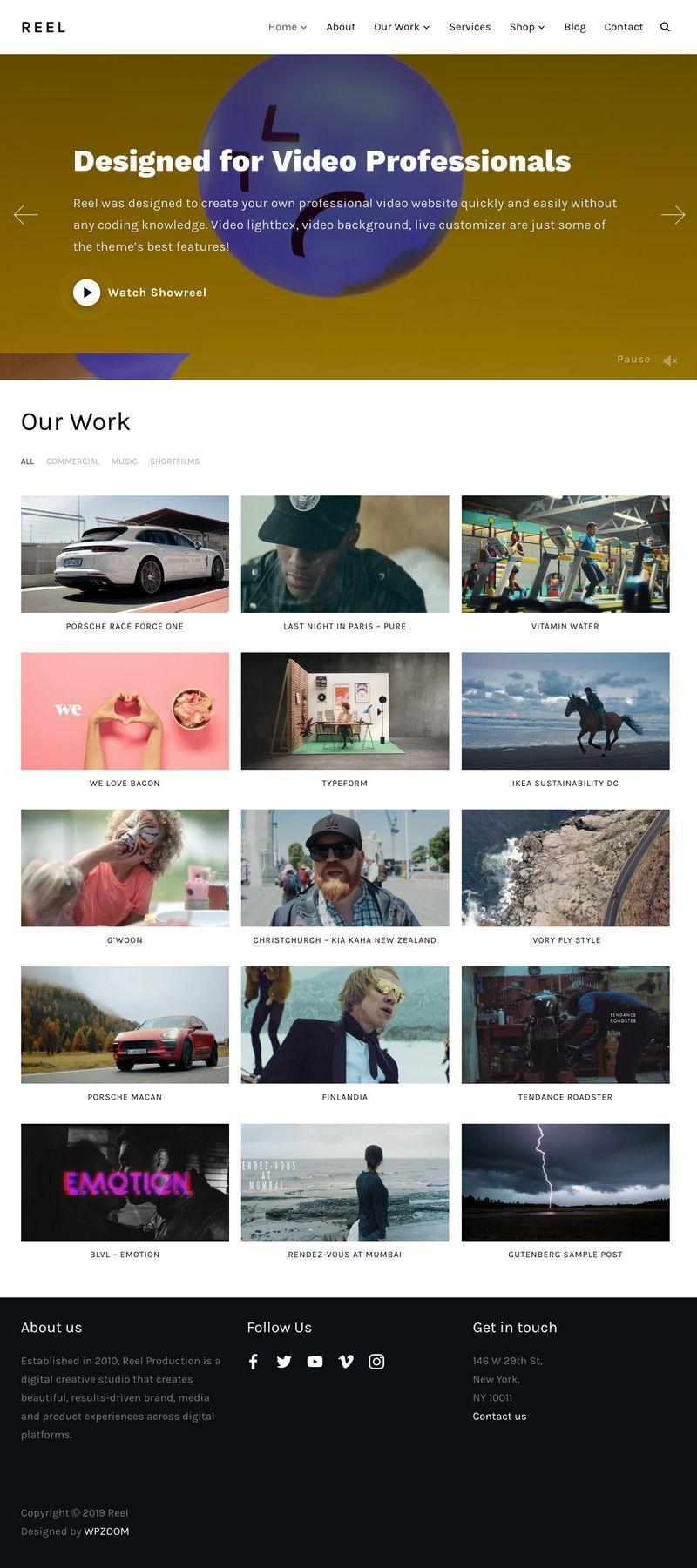 Reel WordPress Video Professionals Theme