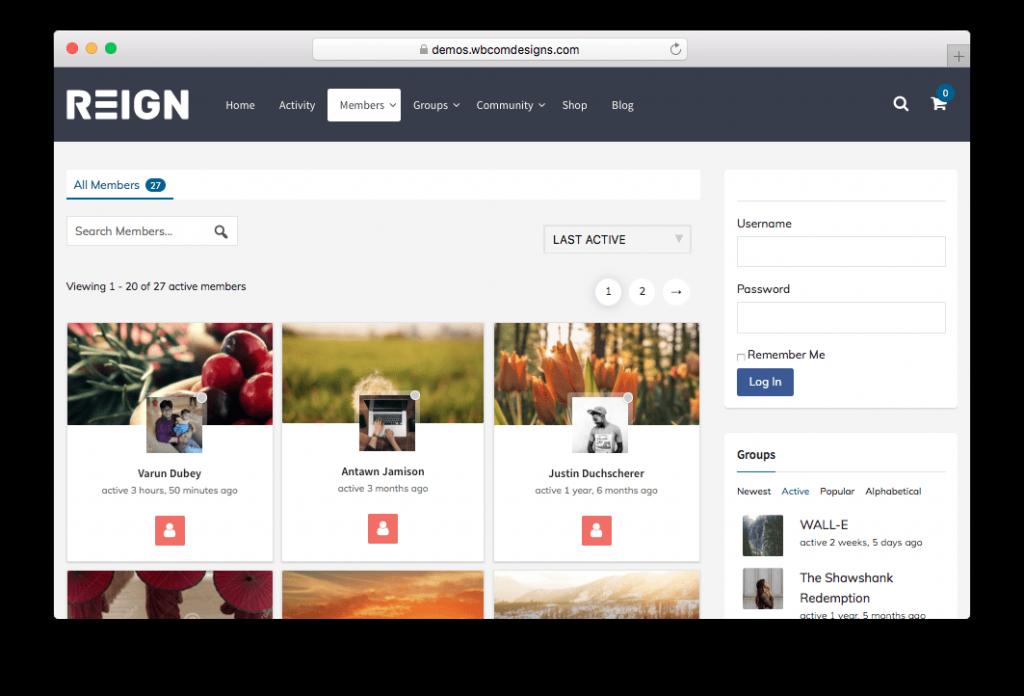 Reign BuddyPress Social Network WordPress Theme