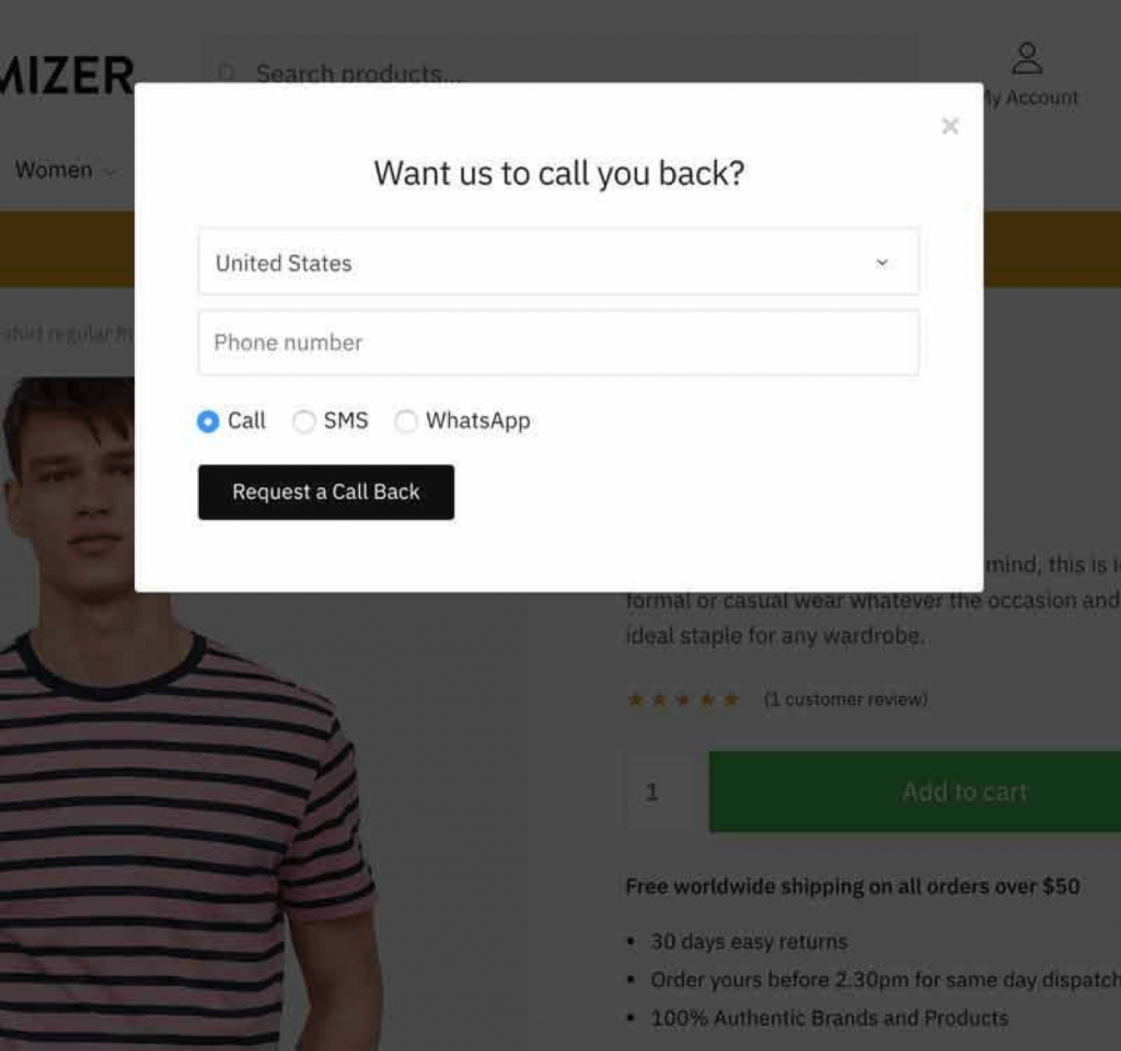 Request a call back feature on Individual Product