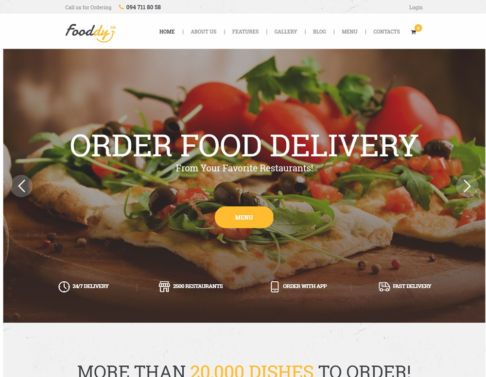 Fooddy 24/7 Food Ordering & Delivery WordPress Theme
